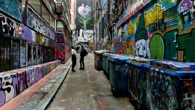Melbourne is home to a series of laneways covered in colorful street art.