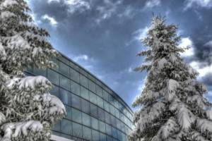 The School of Management Building in Winter at Binghamton University, State University of New York