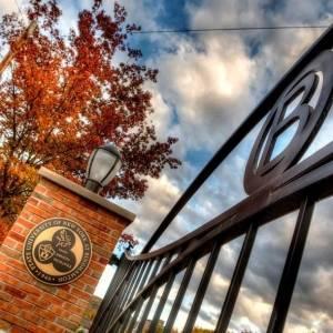 Entrance gate to Binghamton University, State University of New York.