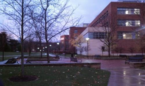 Campus near the Business Building at sunrise