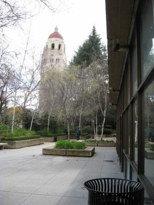 Stanford GSB with a view of Hoover Tower