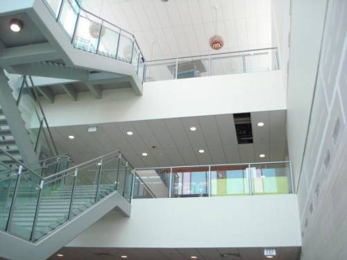 The atrium in Hyland Hall