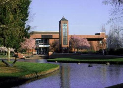 Willamette University clock tower and Mill Stream