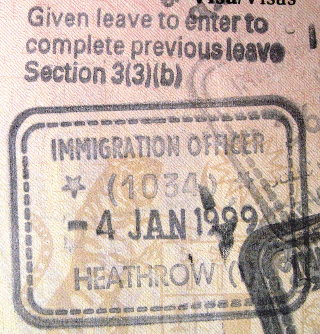 A UK entry visa stamp