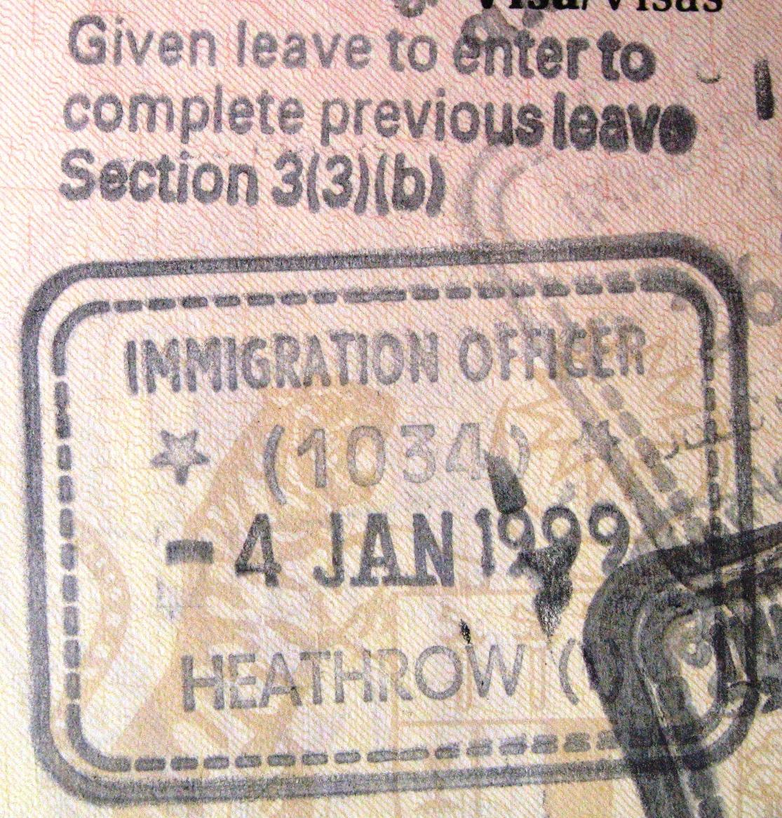A UK entry visa stamp