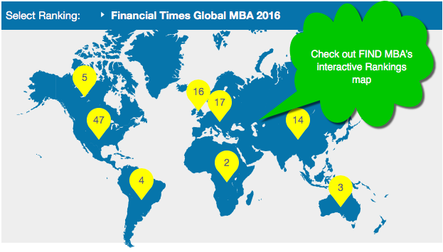 Use FIND MBA's interactive rankings map to find ranked business schools worldwide.